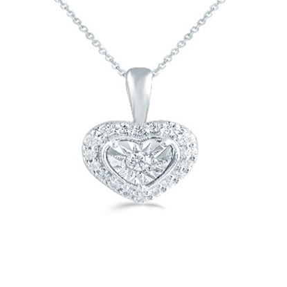Picture of Lotus Heart Shape 1/8ct. Pendant