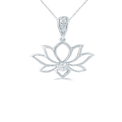 Picture of Lotus Sterling Silver Lotus 1/10ct. Pendant