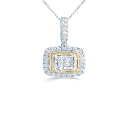 Picture of Lotus Two-Tone Cushion 1/4ct. Diamond Pendant