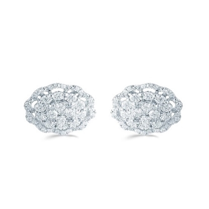 Picture of Lotus Delicate Floral Halo 5/8ct. Earrings