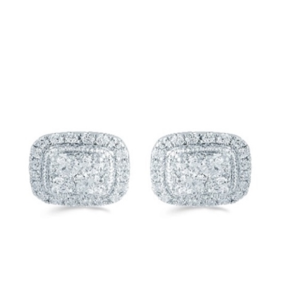 Picture of Lotus Cushion Shape Grand Halo 1/2ct. Earrings