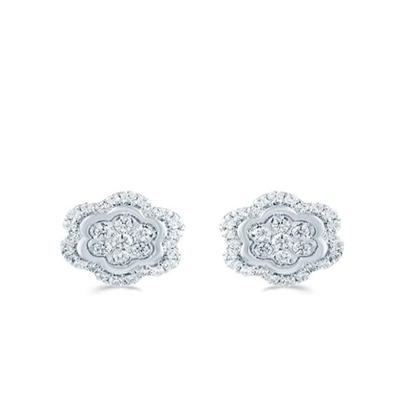 Picture of Lotus Floral Halo 1/2ct. Earrings