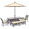 Picture of Hanover Monaco 5-Piece Dining Set in Tan with 2 Dining Chairs, 2 Benches