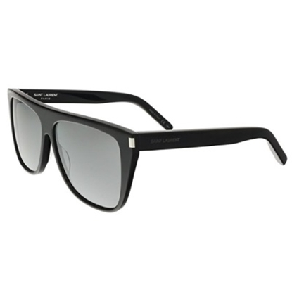 Picture of St Laurent Black Flat Top Acetate Sunglasses with Silver Lens