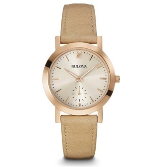 Picture of Bulova Beige Leather Strap Watch with Gray Sunray Dial