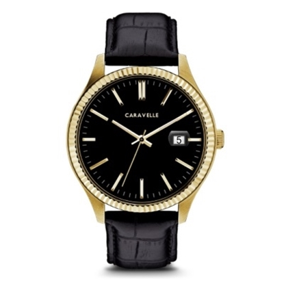 Picture of Bulova Caravelle NY Gold-Tone Watch with Black Leather Strap