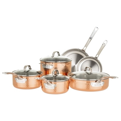 Picture of Viking 10-Piece 3-Ply Copper Clad Cookware with Hammer Marks