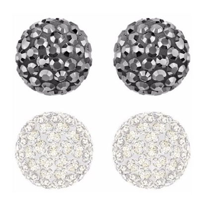 Picture of Swarovski Blow Pierced Earring Set - Black/Clear
