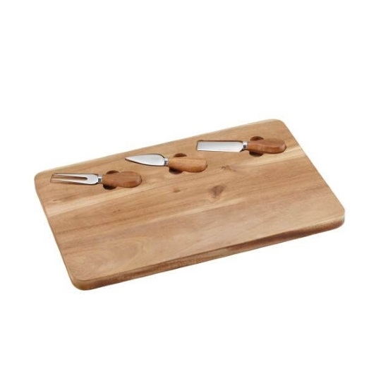 Picture of Cuisinart® 4-Piece Acacia Board with Cheese Knives