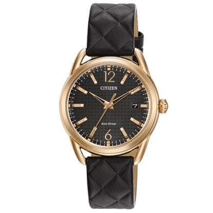 Picture of Citizen Ladies' Eco-Drive Black Quilted Leather Watch