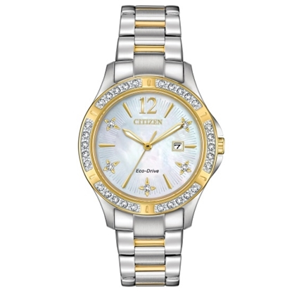 Picture of Citizen Ladies' Eco-Drive Elektra Two-Tone Watch with MOP Dial