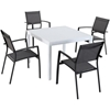"Picture of Hanover Del Mar 5-Piece Outdoor Dining Set with 4 Sling Arm Chairs and a 38"" Square Dining Table"
