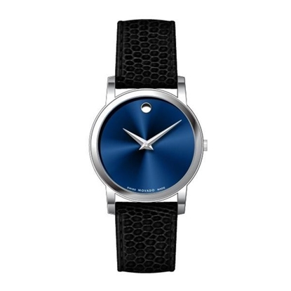 Picture of Movado® Classic Museum Blue Dial Watch with Leather Strap