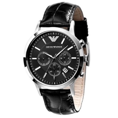 Picture of Emporio Armani Classic Chronograph Watch with Black Strap