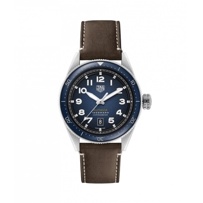 Picture of TAG Heuer Autavia Calibre 5 Watch w/ Blue Dial & Brown Leather