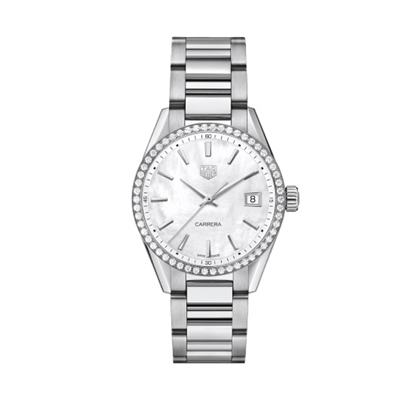 Picture of TAG Carrera Watch with Diamond Bezel & MOP Dial