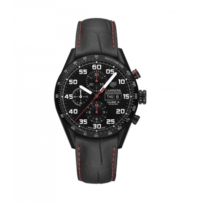 Picture of TAG Carrera Calibre 16 Day Watch with Black Alligator Strap