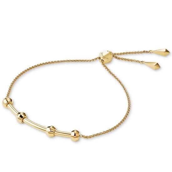 Picture of Michael Kors Starter Charm Slider Gold-Tone Sterling Bracelet