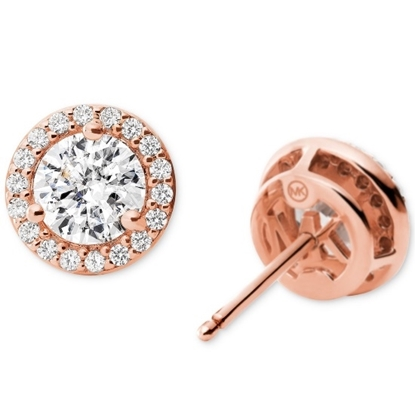 Picture of Michael Kors Round Stud Sterling Silver Rose Gold-Tone Earring