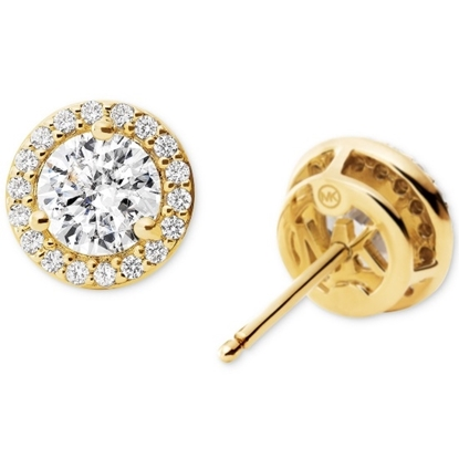 Picture of Michael Kors Round Stud Sterling Silver Gold-Tone Earrings