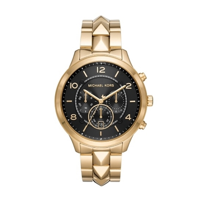 Picture of Michael Kors Runway Mercer Gold-Tone Watch with Black Dial