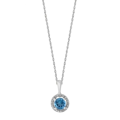 Picture of Lali 14K White Gold Halo Diamond/Blue Topaz Pendant with Chain
