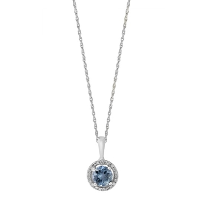 Picture of Lali 14K White Gold Halo Diamond/Aqaumarine Pendant with Chain