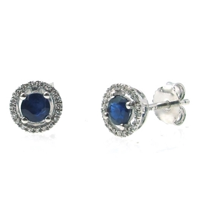 Picture of Lali 14K White Gold Halo Diamond and Sapphire Earrings