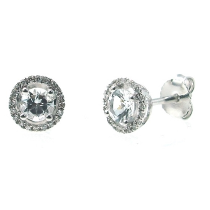 Picture of Lali 14K White Gold Halo Diamond and White Topaz Earrings