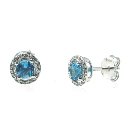 Picture of Lali 14K White Gold Halo Diamond and Blue Topaz Earrings