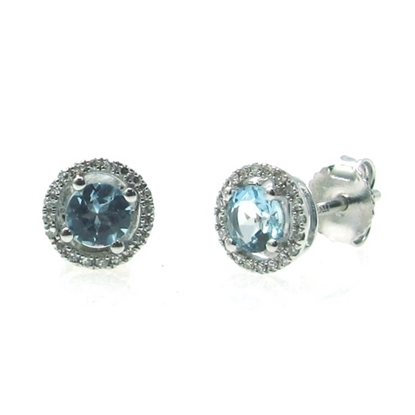 Picture of Lali 14K White Gold Halo Diamond and Aquamarine Earrings
