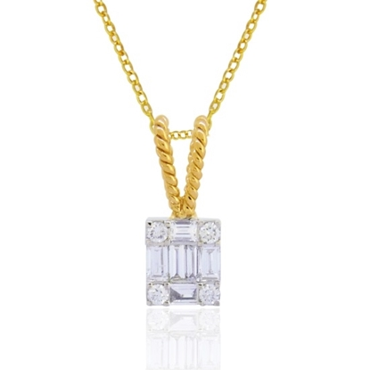 Picture of Lali 14K Yellow/White Gold Diamond Baguette Pendant with Chain