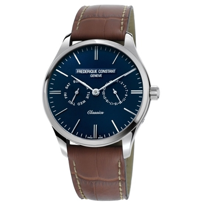 Picture of Frederique Constant Classic Quartz w/ Blue Dial & Brown Strap