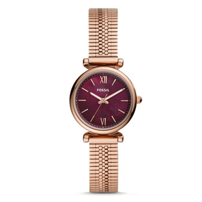 Picture of Fossil Carlie Mini Rose Gold-Tone Watch with Burgundy Dial
