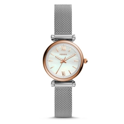 Picture of Fossil Carlie Mini Rose Gold-Tone Stainless Steel Mesh Watch