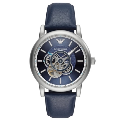 Picture of Emporio Armani Luigi Blue Leather Watch with Blue Dial
