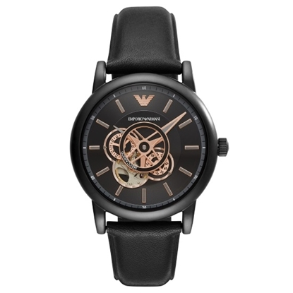 Picture of Emporio Armani Luigi Black Leather Watch with Black Dial