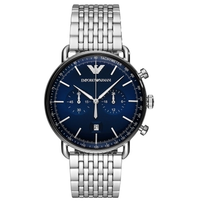Picture of Emporio Armani Aviator Stainless Steel Watch with Blue Dial