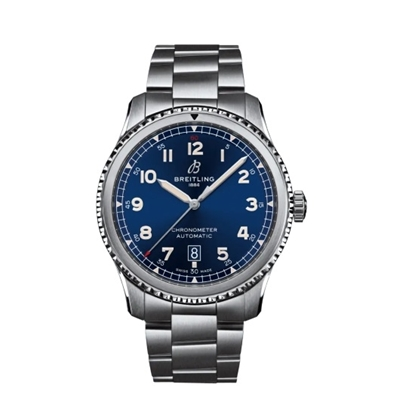 Picture of Breitling Aviator 8 Auto 41 Stainless Steel with Blue Dial