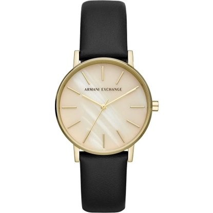 Picture of Armani Exchange Lola Black Leather Watch with MOP Dial