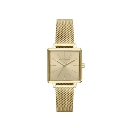 Picture of Armani Exchange Lola Square Gold-Tone Mesh Watch