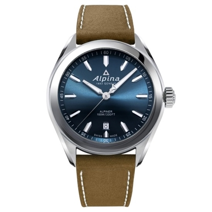 Picture of Alpina Alpiner Quartz Watch with Blue Dial & Brown Strap