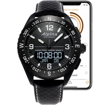 Picture of Alpina AlpinerX Smartwatch with Black Leather Strap