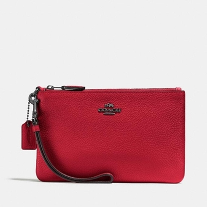 Picture of Coach Small Wristlet - Gunmetal/Red Apple