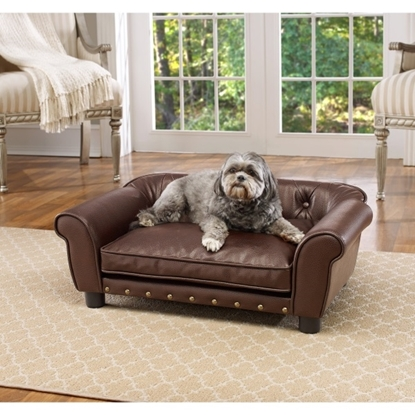 Picture of Enchanted Home Pet Brisbane Tufted Bed - Pebble Brown