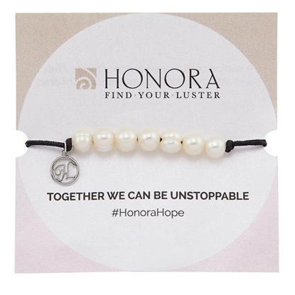 Picture of Adjustable HOPE Bracelet with White Freshwater Pearls