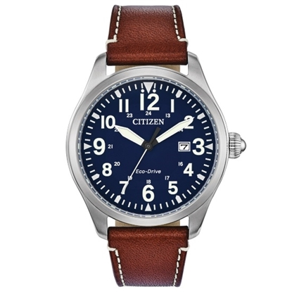 Picture of Citizen Eco-Drive Garrison Watch with Blue Dial & Brown Strap