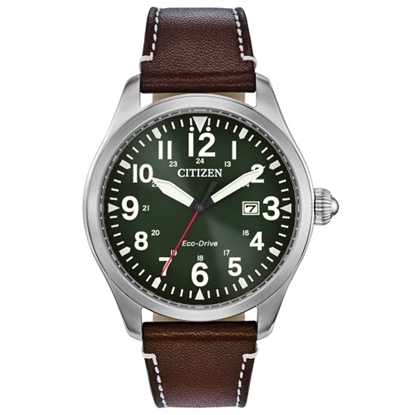 Picture of Citizen Eco-Drive Garrison Watch with Green Dial & Brown Strap
