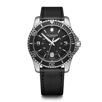 Picture of Victorinox Maverick Large Black Leather Watch with Black Dial