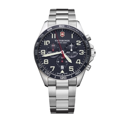 Picture of Victorinox Fieldforce Chrono Steel Watch with Blue Dial